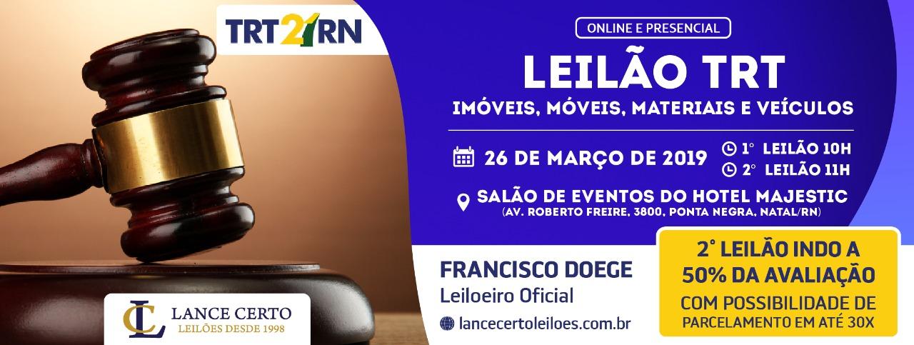 Resultado de imagem para TRT-RN LEILÃO 2019